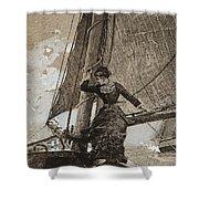 Yachting Girl Shower Curtain