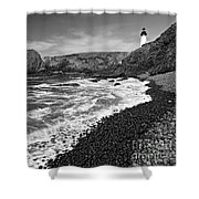 Yaquina Lighthouse On Top Of Rocky Beach Shower Curtain