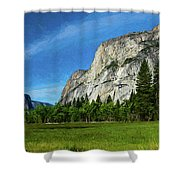 Yosemite Valley Meadow Panorama Shower Curtain