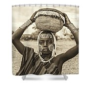 Young Boy From The African Tribe Mursi, Ethiopia Shower Curtain