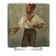 Young Fisherman In The Gulf With Capri At A Distance Shower Curtain