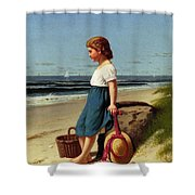 Young Girl At The Seashore Shower Curtain