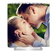 Young Romantic Couple Kissing With Love In Summer Park Shower Curtain