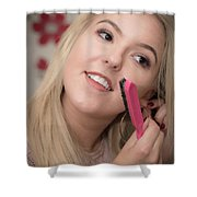 Young Woman Getting Ready To Night Out Shower Curtain