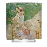 Young Woman Knitting Shower Curtain