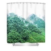 Mountain Scenery In Mist Shower Curtain