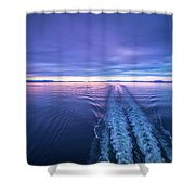 Sunset Over Alaska Fjords On A Cruise Trip Near Ketchikan Shower Curtain