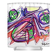 2010 Abstract Drawing Eleven Shower Curtain