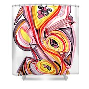 2010 Abstract Drawing Nine Shower Curtain