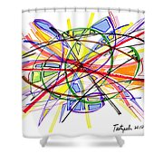 2010 Abstract Drawing Twelve Shower Curtain