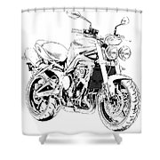 2011 Triumph Street Triple, Black And White Motorcycle Shower Curtain