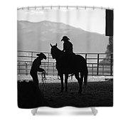 201208107-047k Cowgirls Preparing To Ride 2x3 Shower Curtain