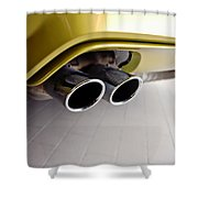 2015 Bmw M4 Exhaust Shower Curtain by Aaron Berg