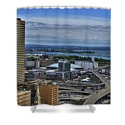 2015 View Of The Skyway And New Harbor  Shower Curtain