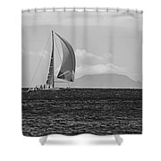 2017 Heineken Regatta Sailing Past Saba Saint Martin Sint Maarten Red Sail Black And White Shower Curtain