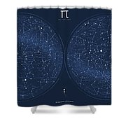 2017 Pi Day Star Chart Azimuthal Projection Shower Curtain