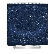 2017 Pi Day Star Chart Hammer/aitoff Projection Shower Curtain