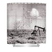 2017_06_lamesa Tx_pump Jack Windmill 3 Textured And Aged Shower Curtain