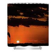 2017_08_midkiff Tx_ Sunset Pump Jack 3 Shower Curtain