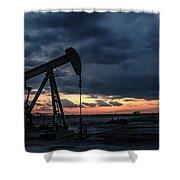 2017_08_midkiff Tx_sunset Pump Jack 4 Shower Curtain