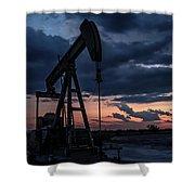 2017_08_midkiff Tx_sunset Pump Jack 7 Shower Curtain