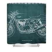 2018 Triumph Thruxton 1200 Blueprint Green Background Shower Curtain