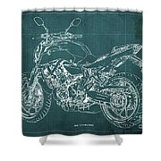 2018 Yamaha Mt07 Blueprint Green Background Fathers Day Gift Shower Curtain