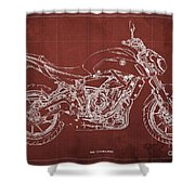 2018 Yamaha Mt07 Blueprint  Red Background Fathers Day Gift Shower Curtain