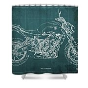 2018 Yamaha Mt07,blueprint,green Background,fathers Day Gift,2018 Shower Curtain
