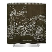 2018 Yamaha Tracer 900gt Blueprint Brown Background Two Wheels Move The Soul Shower Curtain