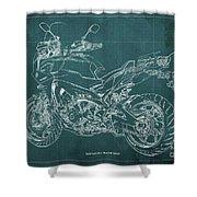 2018 Yamaha Tracer 900gt Blueprint Green Background Shower Curtain