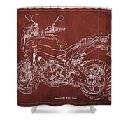 2018 Yamaha Tracer 900gt Blueprint Red Background Gift For Dad Shower Curtain
