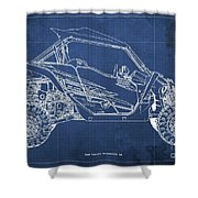 2018 Yamaha Wolverine X4 Blueprint Blue Background Gift For Dad Shower Curtain