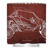 2018 Yamaha Wolverine X4 Blueprint Red Background Gift For Him Shower Curtain
