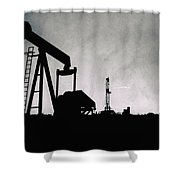 2018_08_malaga Nm_cactus 153 Pump Jack Shower Curtain