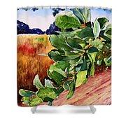 #203 Blue Oak Leaves 2 Shower Curtain