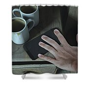 Bedside Table And Cellphone Shower Curtain