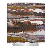21. V2 Rustic Brown, Red And White Glaze Painting Shower Curtain