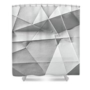 White Folded Paper Shower Curtain