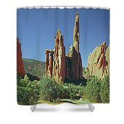 210806-h Spires In Garden Of The Gods Shower Curtain