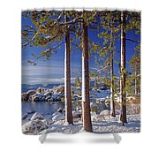 211257 Snow On Tree Sides Lake Tahoe Shower Curtain