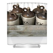 Moonshine In Wooden Crate Shower Curtain