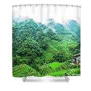 Mountain Scenery In The Mist Shower Curtain
