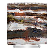 22. V2 Rustic Brown, Red And White Glaze Painting Shower Curtain