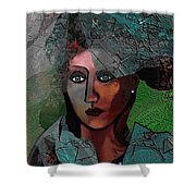 239 - Young Woman In Green Dress 2017 Shower Curtain