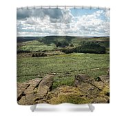 Beautiful Vibrant Landscape Image Of Burbage Edge And Rocks In S Shower Curtain