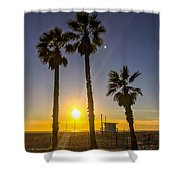 Sunset In Santa Monica, California, Usa Shower Curtain