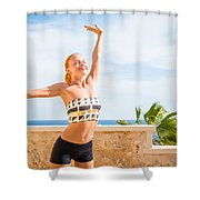 Beautiful Woman Practicing Yoga Shower Curtain