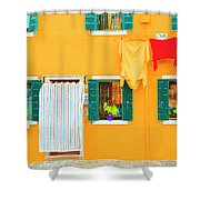 Burano Anisland Of Multi Colored Homes On Canals North Of Venice Italy Shower Curtain