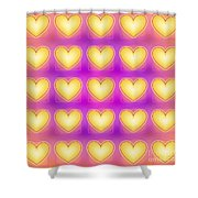 25 Little Yellow Love Hearts Shower Curtain